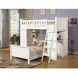 Willoughby Loft Bed and Twin Bed with Desk & Storage (White)