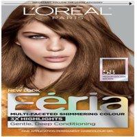 L'Oreal Paris Feria Permanent Hair Color, 58 Medium Golden Brown 1 ea