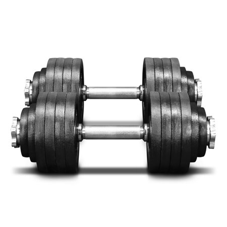 Yes4All 105 lb Adjustable Dumbbell Weight Set - Cast Iron Dumbbell (a