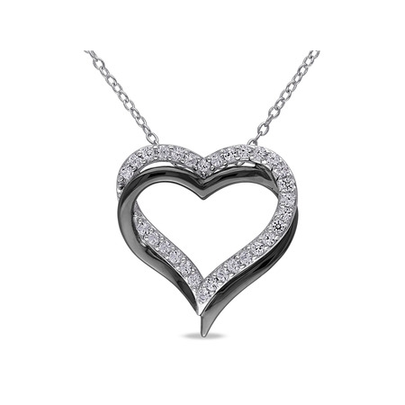 5/8 Carat T.G.W. Created White Sapphire Two-Tone Sterling Silver Interlocking Heart Women's Pendant Necklace, 18