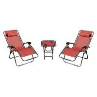 Mano Patio 3 Piece Zero Gravity Chaise Lounger Chat Set