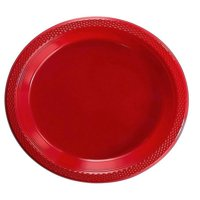 "Exquisite 10"" Disposable Plastic Plates - 50 Count Party Pack Plates - Premium Plastic Disposable Lunch & Dinner Plates, Red"