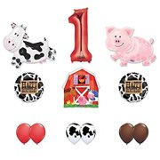 Barn Farm Animals 1st Birthday Party Supplies Cow Pig Balloon Decorations