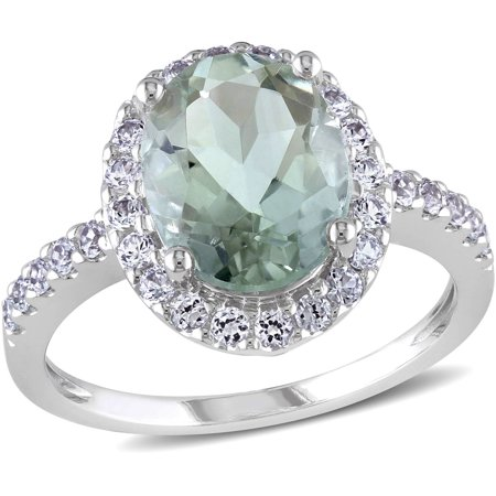 - 2-7/8 Carat T.G.W. Green Amethyst and Created White Sapphire 10kt White Gold Halo Cocktail Ring