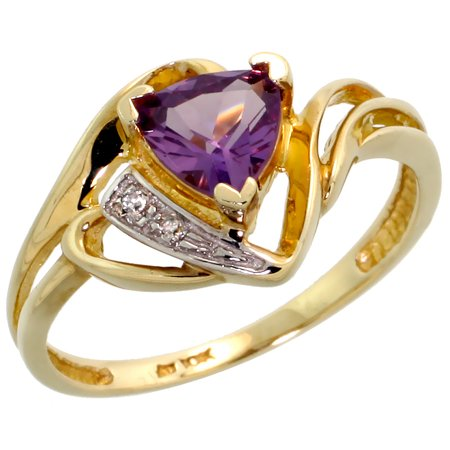 10k Gold Diamond Natural Amethyst Ring Trillium Cut 6mm February Birthstone 1/2 inch wide, size 4.5