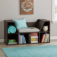 Mainstays Kids Reading Nook and Storage Book Case, Dark Chestnut