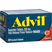 Advil Pain Reliever / Fever Reducer Coated Tablet, 200mg Ibuprofen, Temporary Pain Relief, 50 Ct