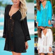 8b133c3757 Women Summer Lace Crochet Bikini Cover Up Swimwear Bathing Suit Beach Dress  Tops