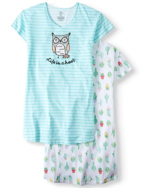 Secret Treasures Sleepshirt 2 Pack Owl/Cactus