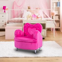 Gymax Rose Kids Sofa Armrest Chair Couch Soft Velvet Toddler Children's Furniture