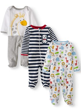Inverted Zipper Sleep N Play & Coveralls, 3pc Pajama Set (Baby Boys)