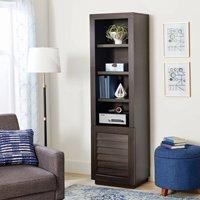 Better Homes & Gardens Ellis Shutter Tower Bookcase and Cabinet, Dark Oak Finish