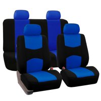 FH Group Universal Flat Cloth Fabric Car Seat Cover, Full Set, Blue and Black