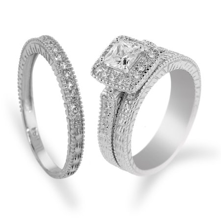 1.53 Ct His and Hers 3 Pieces Sterling Silver and Princess CZ Three Ring Set 3 Stone Tension Set Ring