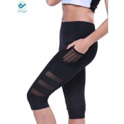 3250624d0efae Deago Women's High Waist Yoga Pants Capri with Side Pockets Tummy Control  Workout Running 4 Way
