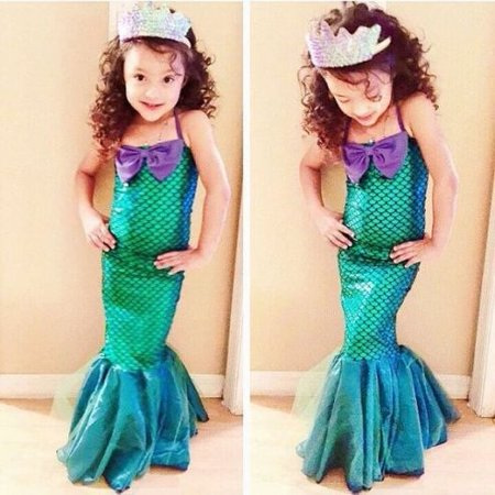 Kids Ariel Little Mermaid Set Girl Princess Dress Party Cosplay Costume Clothing - Kid Dog Costume