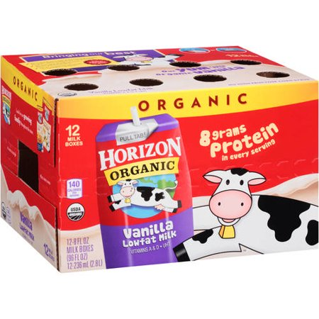Horizon Organic Vanilla Low-Fat Milk, 8 fl oz, 12