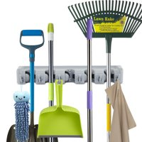 ForHauz Broom Holder with 5 Holding Positions & 6 Hooks, Easy Wall Mount Storage for Organizing Garage or Closet