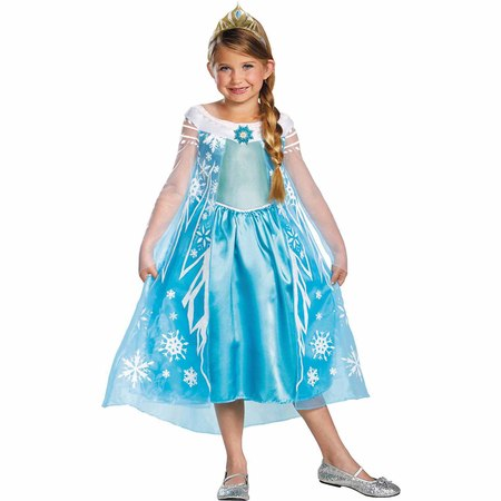 Frozen Elsa Deluxe Child Halloween Costume](Diy Halloween Costumes For Girls Age 9)