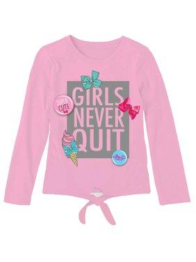 """Respect the Bow"" Tie Front Long Sleeve T-Shirt (Little Girls & Big Girls)"