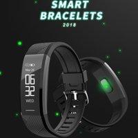 Waterproof Bluetooth Fitness Tracker Smart Bracelet Heart Rate Wristband Watch Alarm Clock Step Counter Sports Sleep Monitor(Black)