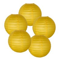 """Just Artifacts 16"""" Yellow Paper Lanterns (Set of 5) - Decorative Round Paper Lanterns for Birthday Parties, Weddings, Baby Showers, and Life Celebrations"""