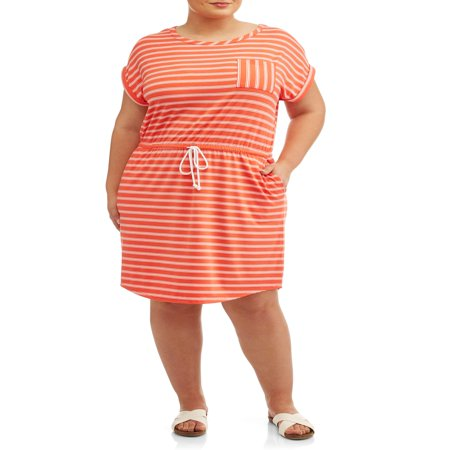 Women's Plus Size Short Sleeve Tie Front Knit Dress - Plus Size Goddess Dresses