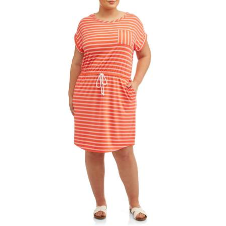 Women's Plus Size Short Sleeve Tie Front Knit Dress