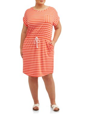 Women's Plus Size Short Sleeve Tie Front Knit Dress
