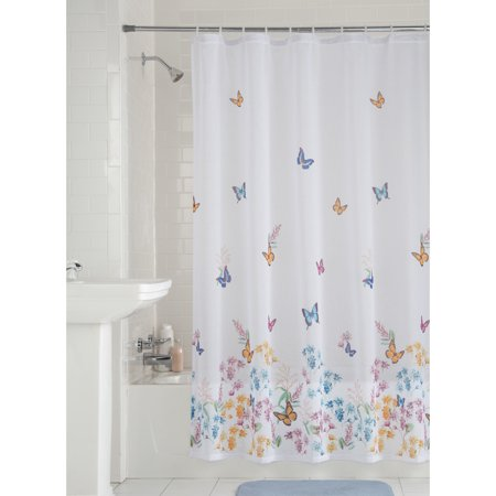 Mainstays Butterfly Fabric Shower Curtain, 1 -