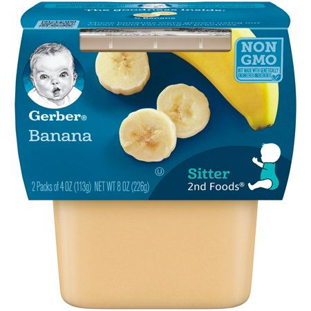 Gerber 2nd Foods Banana Baby Food, 4 oz. Tubs, 2 Count (Pack of