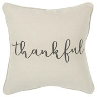 """Rizzy Home Holiday """"Thankful"""" Poly Filled Decorative Throw Pillow, 20"""" x 20"""", Natural"""