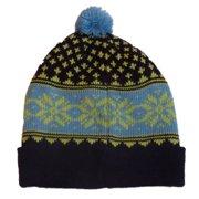 58b40dd00a5b5 Aquarius Boys Nordic Blue   Purple Snowflake Beanie Pom Pom Hat Stocking Cap