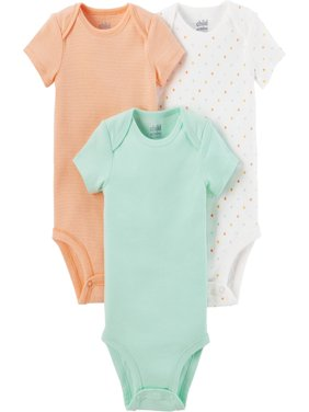 Newborn Baby Neutral Short Sleeve Basic 3 Pack Bodysuit