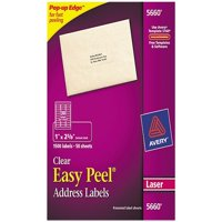 Avery Easy-Peel Mailing Address Labels, 1 x 2.63 in., Clear, 1500 Count (5660)