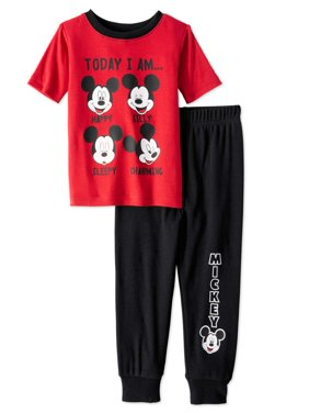 Mickey Mouse Baby Toddler Boys' Short Sleeve Tight Fit Pajamas, 2pc Set