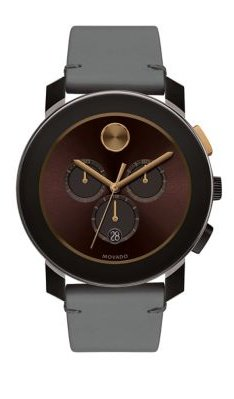 Movado Bold Men's Brown Leather Chronograph Watch 3600445