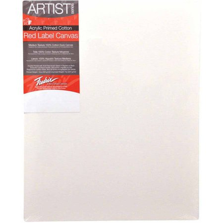 Fredrix Artist Red Label Cotton Duck Double-Primed Standard Stretched Canvas, Multiple Sizes, White