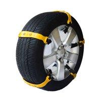 ALEKO Heavy Duty Adjustable Fit Emergency Anti-Skid Snow Chain Straps - Yellow - 10 Pack
