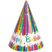 Rainbow Birthday Party Hats 8ct