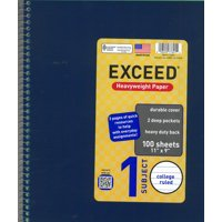 "(4 Pack) Exceed 1 Subject 100 Sheets Notebook, Wide Ruled, 11"" x 9"""