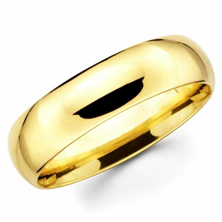 Solid 10k Ladies Yellow Gold Shiny Plain Wedding Band Regular Engagement Regular Fit Ring (Multiple Sizes) 10k Solid Gold Ladys Ring