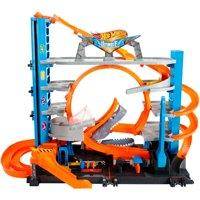 Hot Wheels Ultimate Garage Tower Shark Loop Racetrack, 2 Vehicles Set