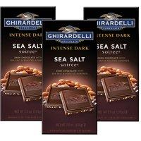 (3 Pack) Ghirardelli Dark Bar Sea Salt Soiree Bars, Chocolate Intense, 3.5 Oz