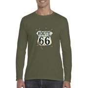 J_H_I Route 66 Gun Holes Traveler Gift for Birthday Christmas Fathers Day Mens Long Sleeve Shirts