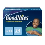 GoodNites Bedtime Bedwetting Underwear for Boys, Size L/XL, 34 Count