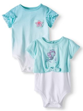 Baby Girls' Tulip Sleeve & 2fer Tie-Front Bodysuits, 2-Piece Multi-Pack