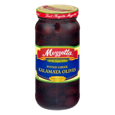 (3 Pack) Mezzetta Pitted Greek Kalamata Olives, 9.5 OZ - Greek Black Olives