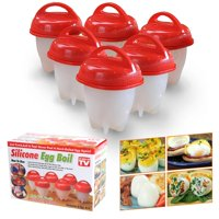 Egglettes Egg Cooker 6 Pack - Hard Boiled Eggs Without the Shell AS SEEN ON TV Egg Cups