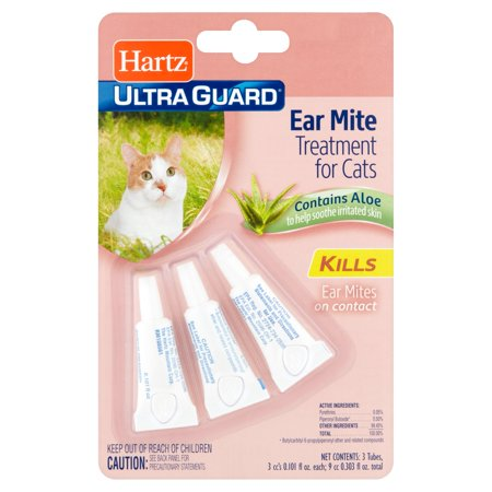 Hartz Ultra Guard Ear Mite Treatment for Cats, 0.101 fl oz, 3 count